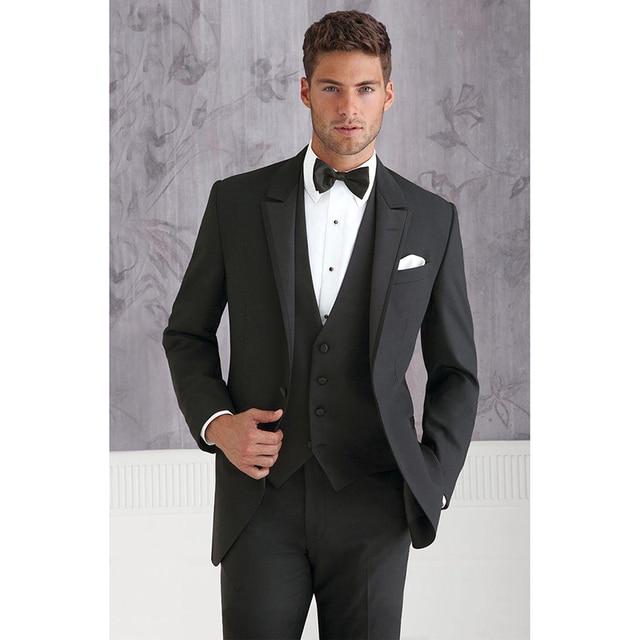 Custom Made black Groom Tuxedos Blazers Slim Fit Mens Wedding ...