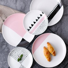 Europe Bone China Cake Dishes and Plates Porcelain Pastry Fruit Tray Ceramic Tableware for Steak Dinner Decoration