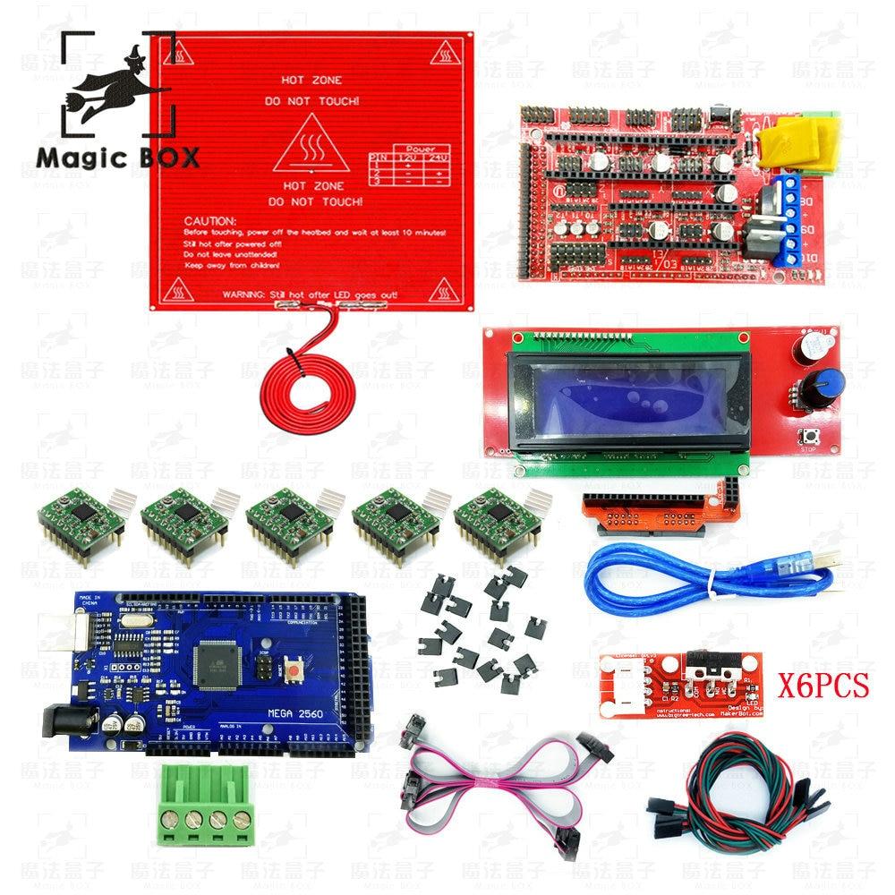 3D-принтеры Reprap пандусы 1,4 комплект с МЕГА 2560 r3 + Heatbed mk2b + 2004 ЖК-дисплей контроллер + A4988 драйвер + Концевики + кабели