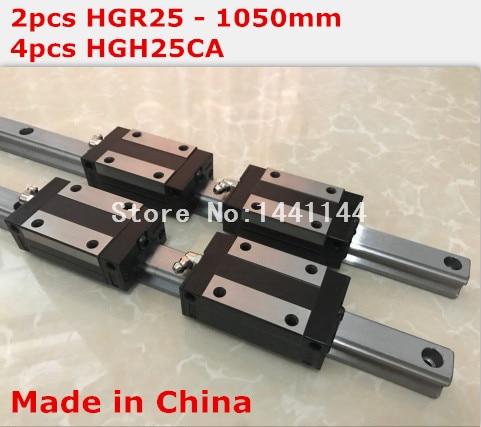 HG linear guide 2pcs HGR25 - 1050mm + 4pcs HGH25CA linear block carriage CNC parts салфетки hi gear hg 5585