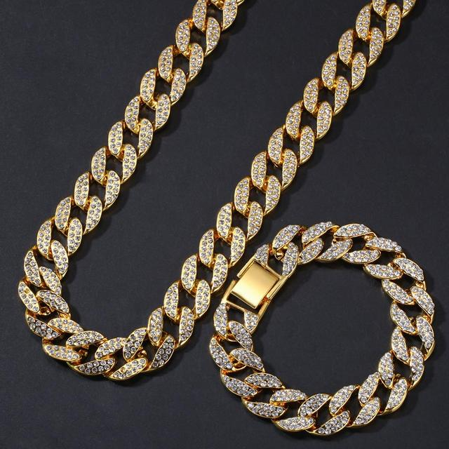 2pcs/set Men Hip hop iced out bling Chain Necklace& Bracelets 15mm width Miami Cuban Chains Necklaces Hiphop jewelry gifts