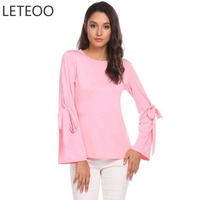 LETEOO Autumn Plus Size T Shirt Women Camiseta O Neck T Shirt Bow Tie Flare Long
