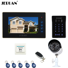 "JERUAN Wired 7"" Video Door Phone intercom System kit waterproof touch Password keyboard Access IR Camera +700TVL Analog Camera"