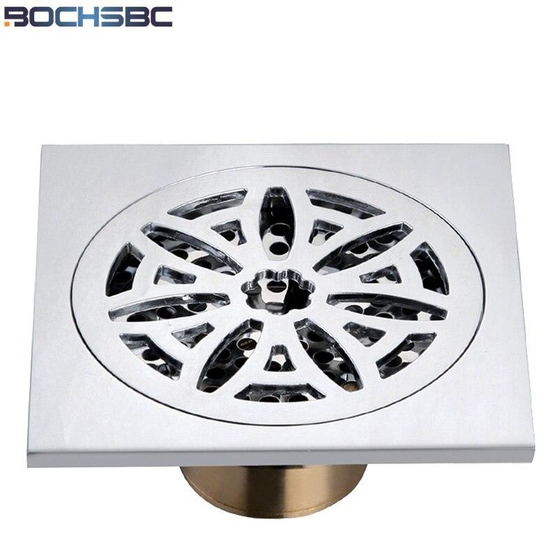 Drain de douche moderne en laiton Art sculpté fleur évier Drain couverture salle de bains sanitaire carré douche plancher Drain Swallet dispositif matériel