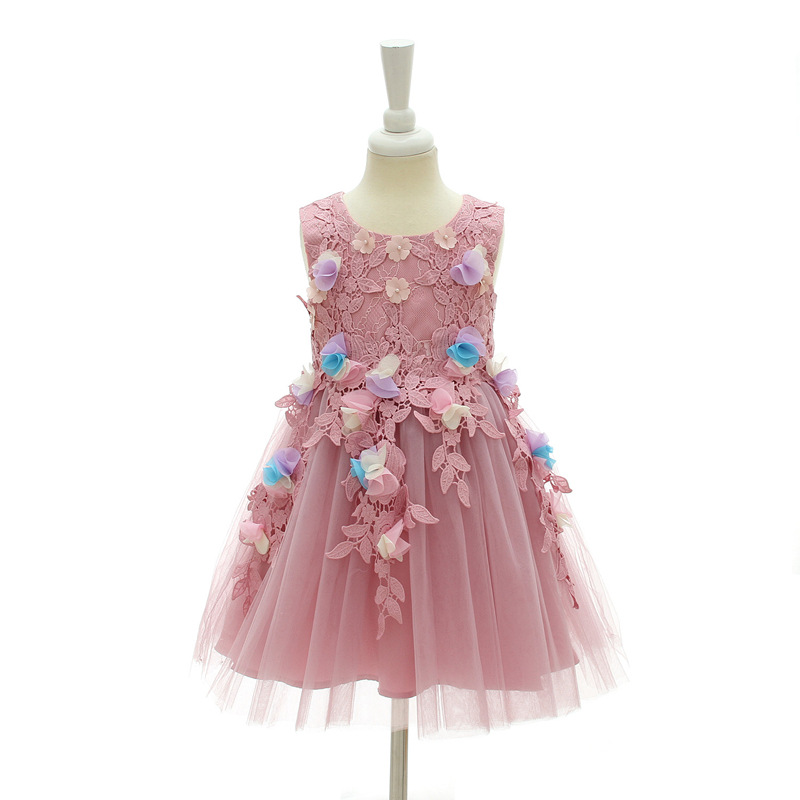 Kids Girls Flower Dress Wedding Birthday Party Dresses Children Fancy Princess Ball Gown Dress DQ821