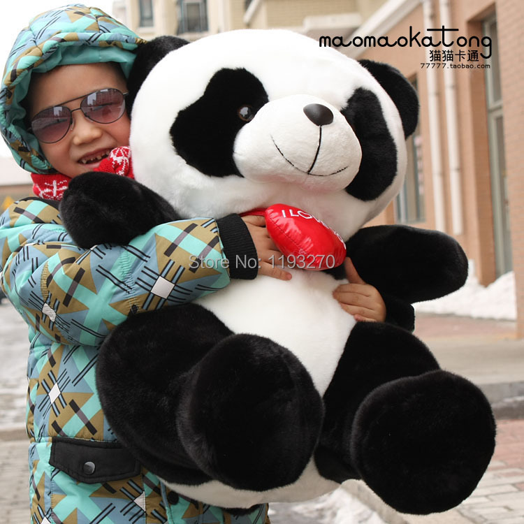 stuffed animal 75 cm panda plush toy  i love you red heart panda doll throw pillow gift  w3501 110cm cute panda plush toy panda doll big size pillow birthday gift high quality