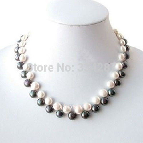 100% Selling Picture full White& black freshwater Pearl Necklace 18""