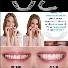 Natural Fake Tooth Perfect Smile Denture Teeth Comfort Fit False Reusable Cover Adjustable Flex Veneers