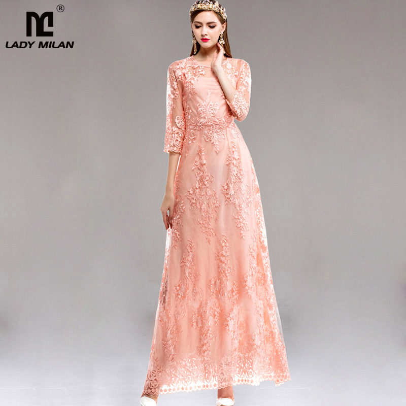 New Arrival 2018 Spring Womens O Neck 3/4 Sleeves Embroidery Lace Elegant Long Prom Runway Dresses in 2 Colors