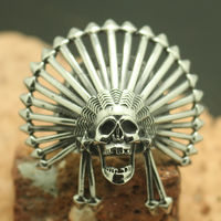 Newest Design Mens Boys 316L Stainless Steel Cool Native Americans Indians Silver Star Ring Factory Price