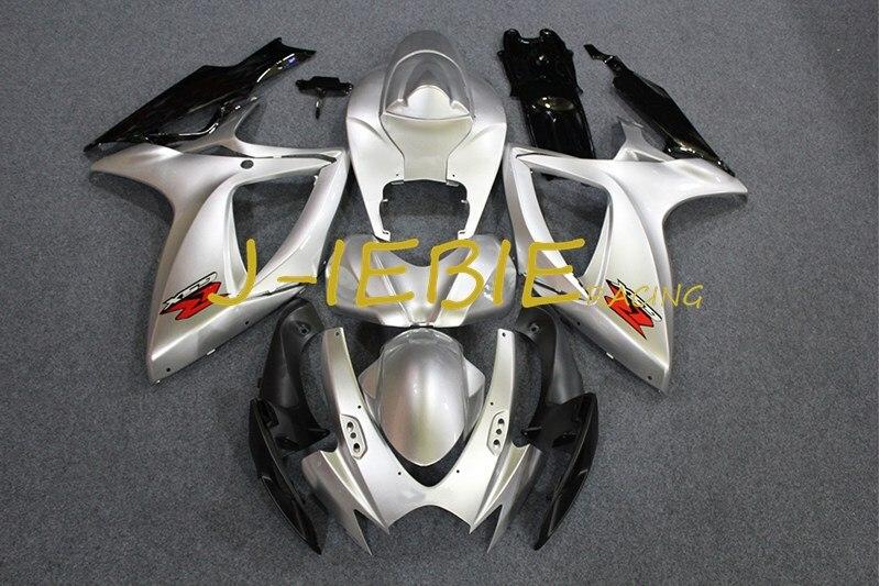 Silver Black Injection Fairing Body Work Frame Kit for SUZUKI GSXR 600/750 GSXR600 GSXR750 2006 2007