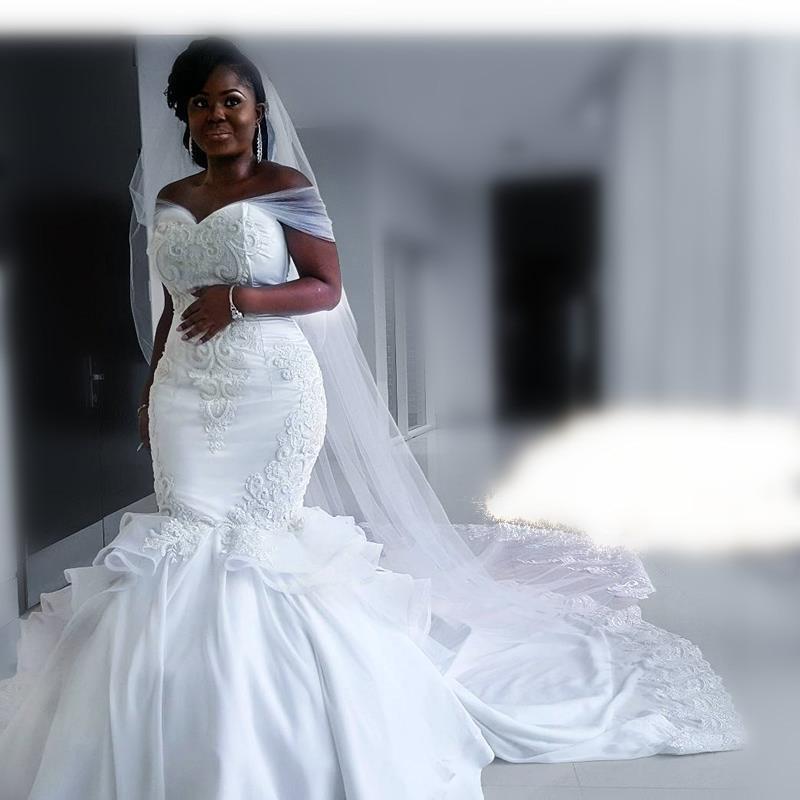 2019 Vestido De Noiva Off The Shoulder Mermaid Wedding Dresses Vintage Crystal Beaded Wedding Dresses Chiffon Bride Gown
