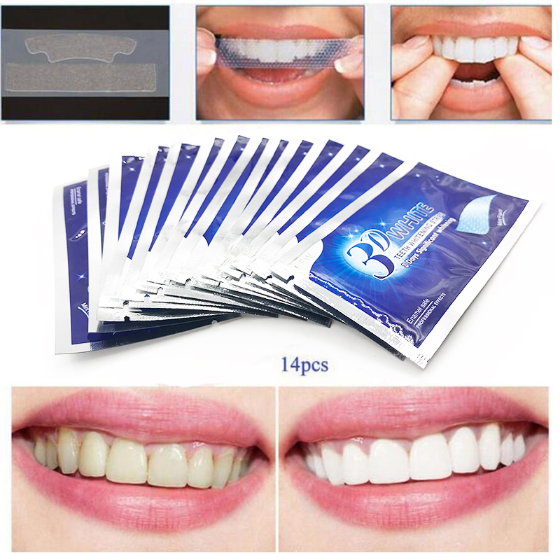 28Pcs/14Pair 3D White Gel Teeth Whitening Strips Oral Hygiene Care Double Elastic Teeth  ...