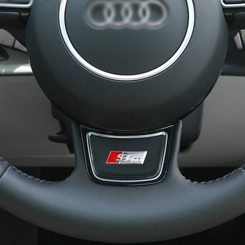 Sline S line Emblem Sticker Car Steering Wheel Metal Refit AUDI Q5 Q7 A1 A3 A4 A5 A6 Series Car Interior Accessories Car Styling брызговики на ауди q5 s line