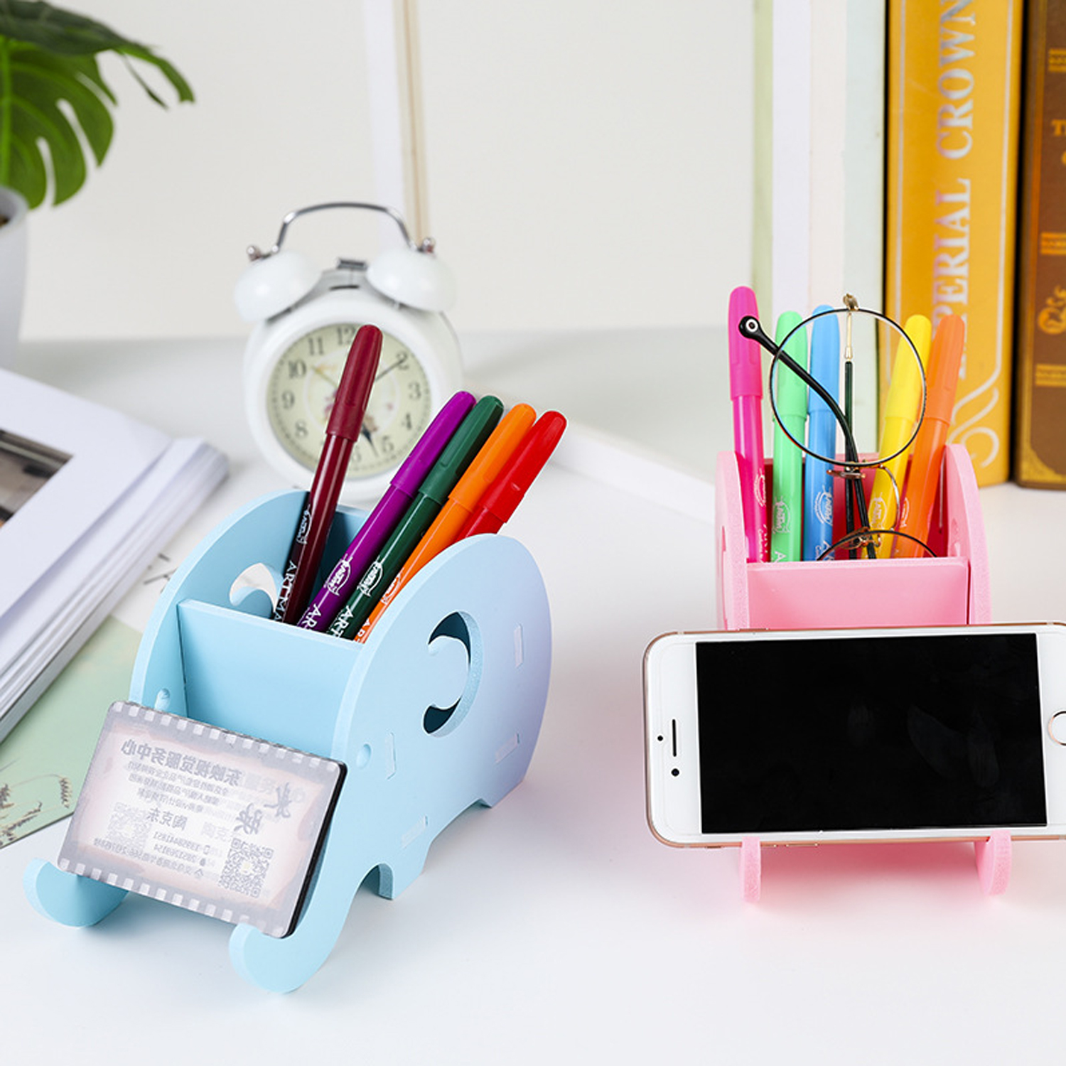 Besegad Multifunction Cute Elephant Wooden Pen Holder Desk