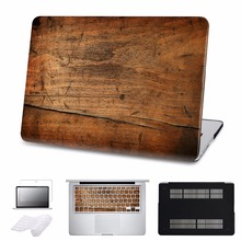 ФОТО  case for macbook air/pro 11 12 13 15 ratina laptop hard cases for pro 13 touch bar 2016 wood grain cover shell 5 in 1 bundle
