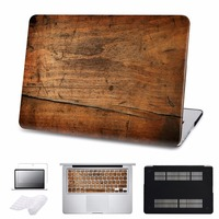 Case For Macbook Air/Pro 11 12 13 15 Ratina Laptop Hard Cases for Pro 13 Touch bar 2016 Wood Grain Cover Shell 5 in 1 Bundle