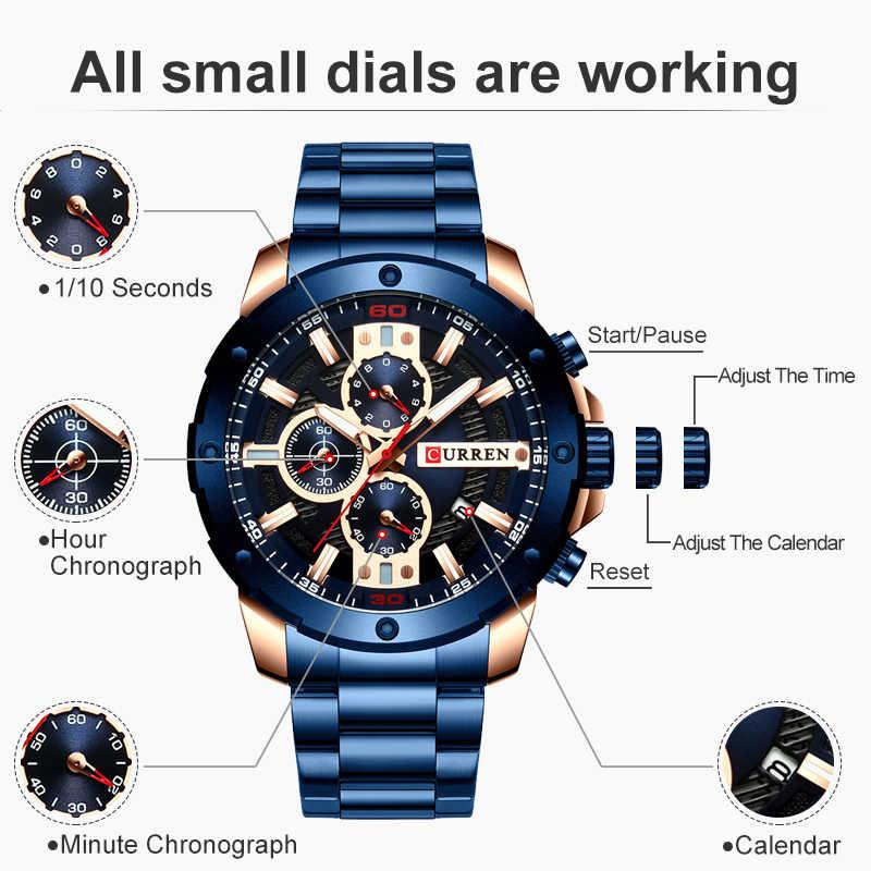 Reloj CURREN para hombre, relojes de acero inoxidable para hombre, Reloj cronógrafo de cuarzo, Reloj deportivo para hombre, Reloj Masculino Reloj Hombr