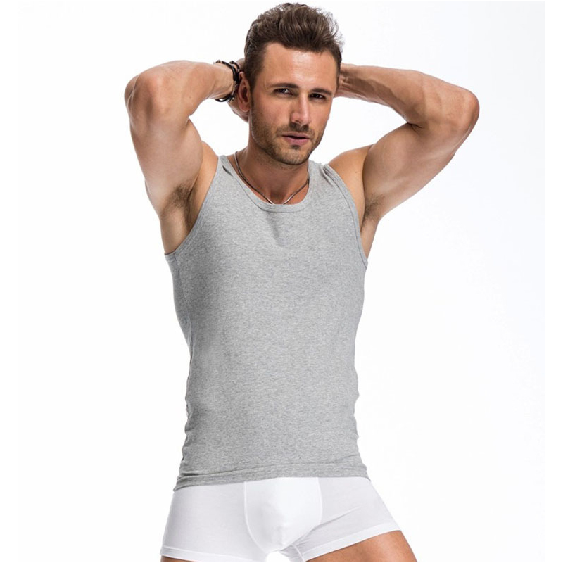 Nieuwe 2016 zomer basic vest 100% katoenen tanktop heren bodybuilding - Herenkleding - Foto 3