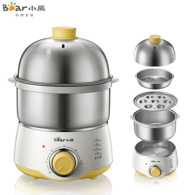 220V  Household Electric Multifunctional Egg Boiler Steamed Custards Cooker Machine Stainless Steel With 30 Minutes Timer