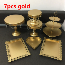 hot deal buy gold wedding cake stand set 7 pieces cupcake stand barware decorating cooking cake tools bakeware set party dinnerware