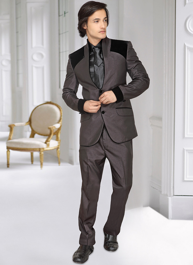 2016 New Arrival Handsome Wedding Prom font b Suit b font Gray And Black Men font