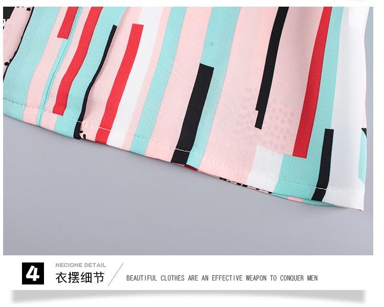 New OL suits 2018 summer Korean fashion stripe chiffon blouse top & wide-legged pants two pcs clothing set lady outfit S-4XL 26