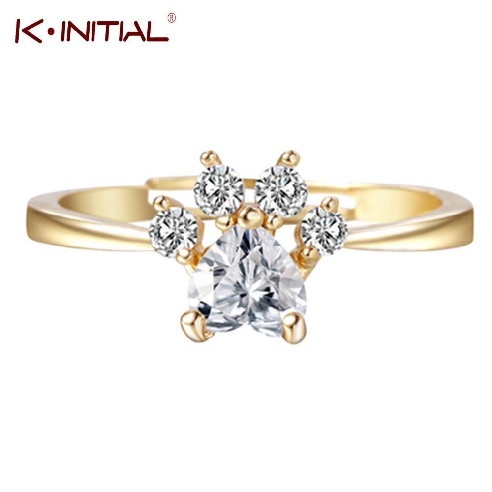 Женское кольцо с белыми кристаллами Kinitial, регулируемое кольцо в виде медвежьей лапы и Когтя с кубическим цирконием, свадебные подарки, золо...