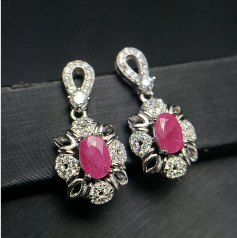 Natural ruby stud earring Free shipping Original real ruby 925 sterling silver Ruby Earring путь ruby