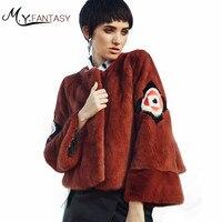 M.Y.FANSTY 2017Shuba Amber Red Women Autumn Winter Swan Velvet Mink Flare Sleeve Character O Neck Real Fur Coat Short Mink Coats