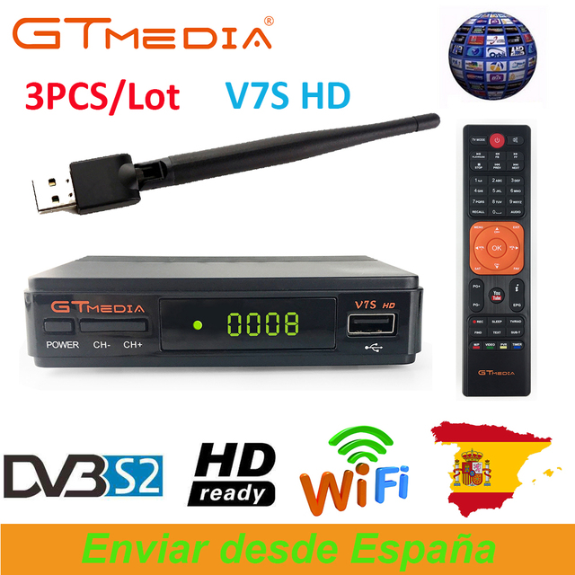 3PCS/Lot GTMedia V7S HD DVB-S2 Satellite Receiver+1PC USB WiFi Support Europe Spain Cccam Portugal Germany Polish TV Receptor