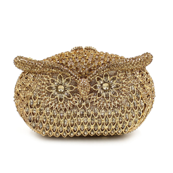 Women owl shape Evening pearl beaded Bags Ladies blue Wedding Party Bag Crystal Gold Clutch Diamonds Purses wallets for bride