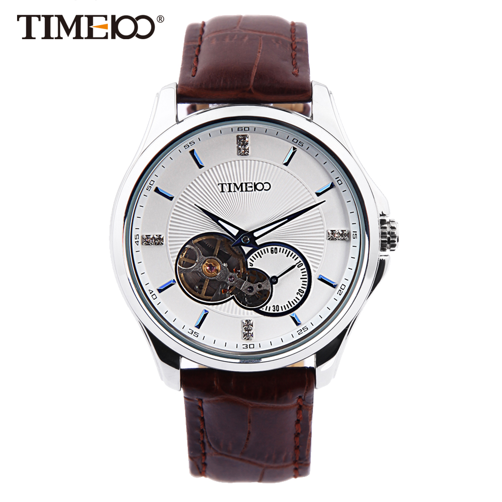 TIME100 Men's Watches Mechanical Automatic Self-Wind Skeleton Wrist watch Leather Strap Waterproof silver mechanical leather wrist watch gift new mens square skeleton self wind watches