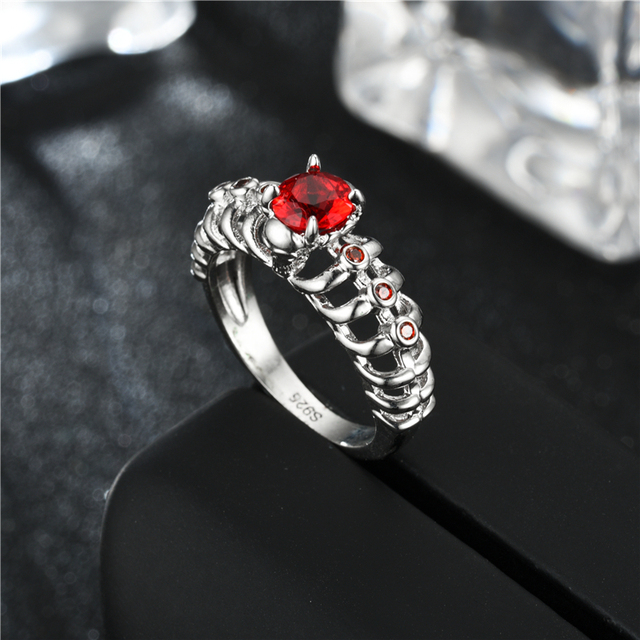 Women's Skull Ring European and American Punk Men Red crystal skull men's jewelry 2 sets Rings 5