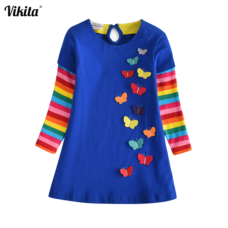 VIKITA Girls Dress Appliques 2018 Girls Spring Autumn Butterfly Dress Girls Costumes Cotton Striped Vestidos Kids Clothes LH6801VIKITA Girls Dress Appliques 2018 Girls Spring Autumn Butterfly Dress Girls Costumes Cotton Striped Vestidos Kids Clothes LH6801