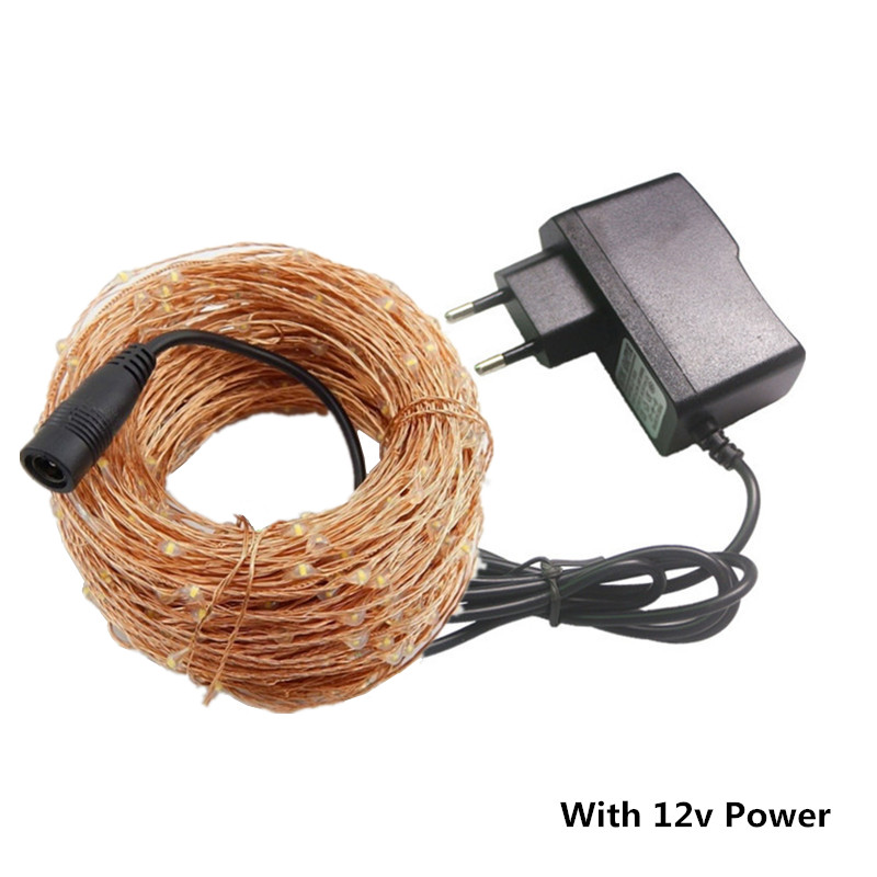 10m-50m 12V LED String Fairy Light+AC Plug Copper Wire Lamp Christmas Party