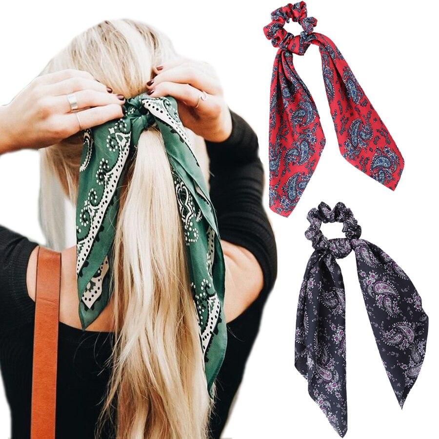 Haimeikang Spring Bow Scrunchie Women Hair Accessories Hair Ties Rubbon Rope Flower Print Elastic Hair Bands Long Head Scarf