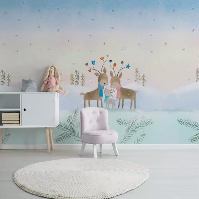Simple hand painted children 39 s room background wall professional production murals wallpaper wholesale custom poster photo wal in Fabric amp Textile Wallcoverings from Home Improvement