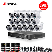 цена на 16CH 1080P AHD DVR NVR CCTV HDMI 16pcs AHD 720P 2000TVL IR Weatherproof CCTV Camera Security System Surveillance Kit