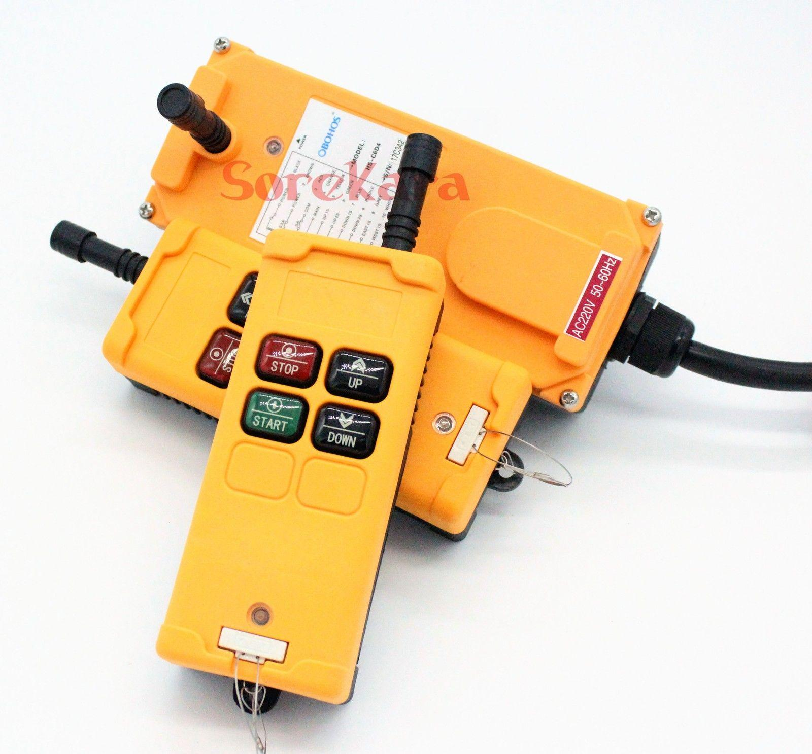 ALL VOLTAGES 1 Speed 4 Channels 2 Transmitters Hoist Crane Truck Radio Remote System Controller 2 speed 2 transmitters 10 channels hoist crane industrial truck radio remote control push button switch system controller
