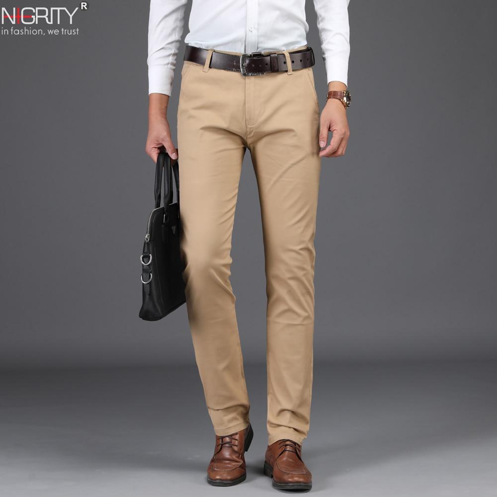 NIGRITY 2018 Nuovo autunno inverno Degli Uomini di Affari di Modo Casual Pantaloni lunghi maschio Elastico Dritto Pantaloni formali più il Formato 28 -42