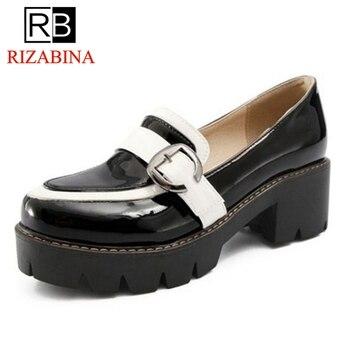 869651e64 RIZABINA/женские туфли-лодочки женская обувь из лакированной кожи на  высоком толстом каблуке Женская обувь без застежки с круглым носком Офисн..
