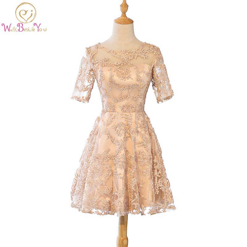 Walk Beside You Summer   Bridesmaids     Dresses   Apricot Half Sleeve Lace Wedding Guest Blue Gray vestido dama de honor Plus Size Gown