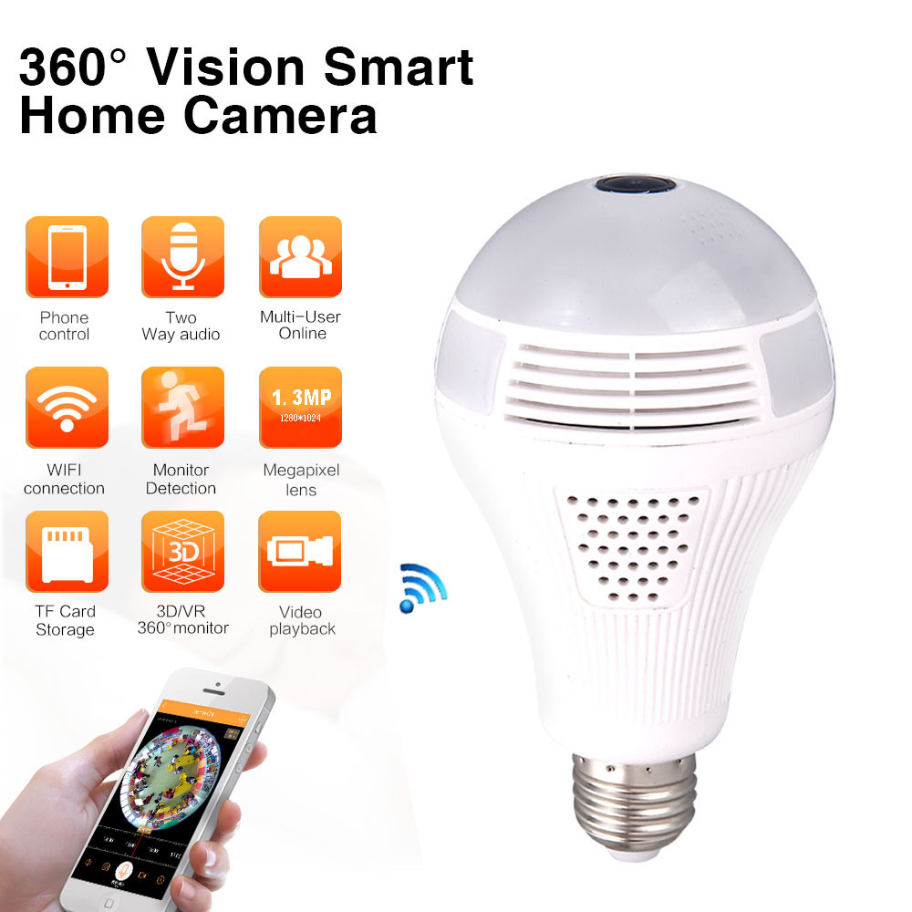 Jiawen 360 Panoramin Smart Home Safty Wifi 1.30MP VR Camera LED Bulb Security Camcorder Motion Detection AC 85-265V