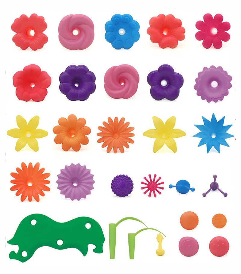 46 قطعة/المجموعة DIY البوب الخرز الزهور اللعب للفتيات الأطفال تشكيلة زهور لعبة تجميع حديقة الألعاب التعليمية للأطفال GYH