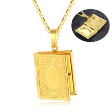 זהב צבע האיסלאם אללה מוסלמי שרשרת קוראן קוראן ספר פתיח תיבת תליון עם שרשרת מוחמד דת תכשיטי מתנה