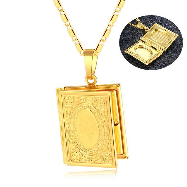 الذهب اللون الإسلام الله مسلم قلادة القرآن الكريم كتاب قابل للفتح صندوق قلادة مع سلسلة محمد الدين مجوهرات هدية