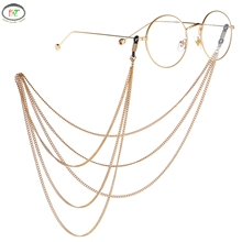 F.J4Z Punk Men's Glasses Holders Fashion Multilayered Gold Color Chains Sunglasses Lanyards for Wome