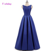 Long Satin A line Butterfly Red Royal Blue Evening Dresses Women Elegant Formal China Vestido Longo Occasion Party Gowns B30(China)
