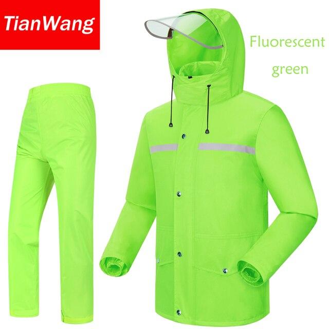 Tianwang waterproof rainproof Rain Jacket Women & Men's suit hood raincoat for motorcycle raincoat outdoors camping fishing 2